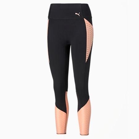 Flawless Women's High Waist 7/8 Training Leggings, Puma Black-Elektro Peach, small-GBR