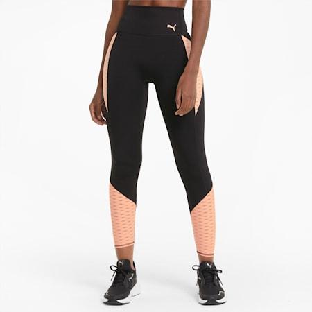 Flawless Women's High Waist 7/8 Training Leggings, Puma Black-Elektro Peach, small