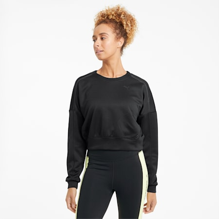 Zip Crew Women's Training Sweatshirt, Puma Black, small-GBR