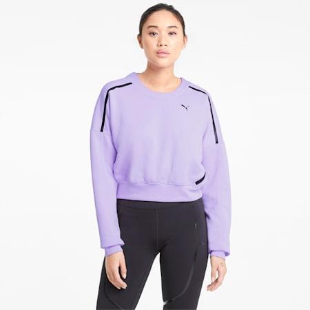 Felpa da allenamento girocollo con zip donna, Light Lavender, small