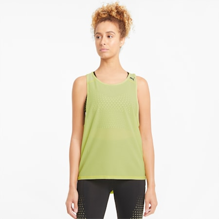 Mesh Women's Training Tank Top, SOFT FLUO YELLOW, small