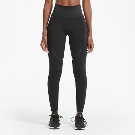 Damskie legginsy treningowe o pełnej długości z wysokim klejonym paskiem, Puma Black, small