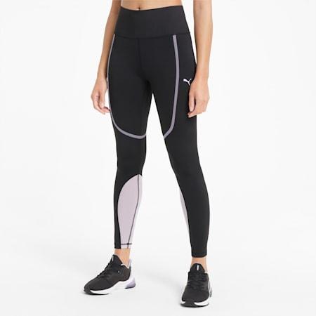 Bonded High Waist Full Length Women's Training Leggings, Puma Black-Light Lavender, small-SEA