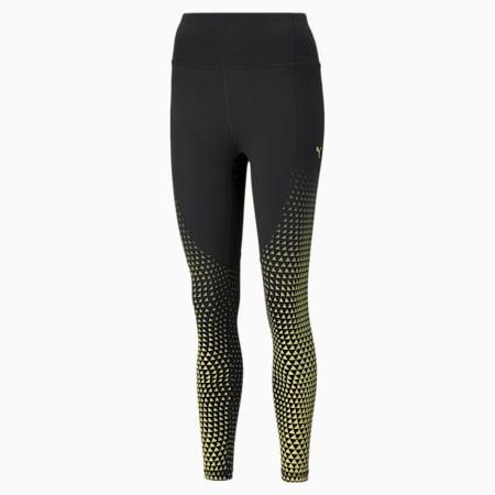 Digital High Waist 7/8 Women's Training Leggings, Black-SOFT FLUO YELLOW-print, small-GBR