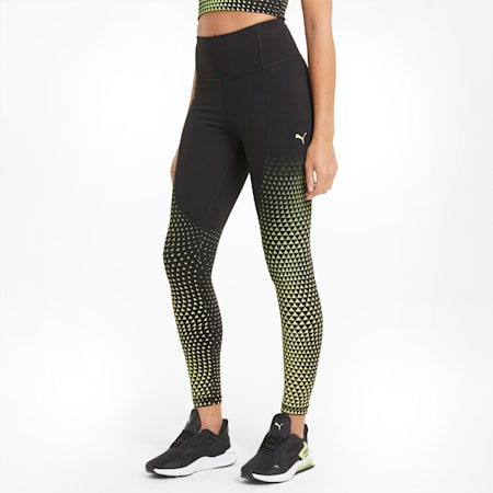 Digital High Waist 7/8 Women's Training Leggings, Black-SOFT FLUO YELLOW-print, small
