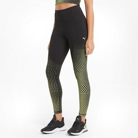 Leggings da allenamento Digital High Waist 7/8 donna, Black-SOFT FLUO YELLOW-print, small