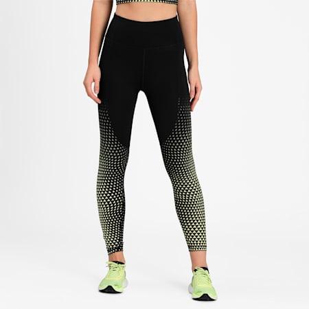 Digital High Waist 7/8 Women's Training Leggings, Black-SOFT FLUO YELLOW-print, small-IND