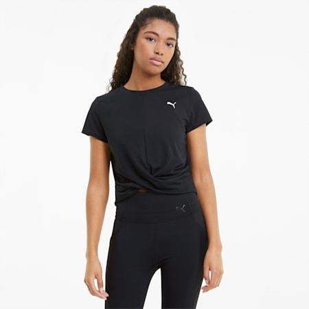 T-shirt da allenamento con costruzione a incrocio donna, Puma Black, small