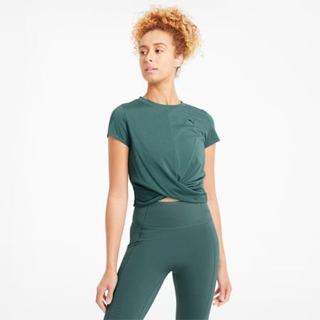T-shirt da allenamento con costruzione a incrocio donna, Blue Spruce, small
