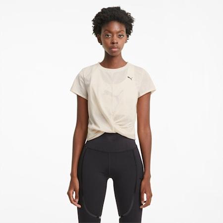 T-shirt da allenamento con costruzione a incrocio donna, Eggnog, small