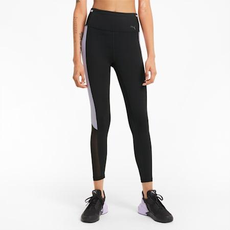Logo Block Women's 7/8 Training Leggings, Puma Black-Light Lavender, small