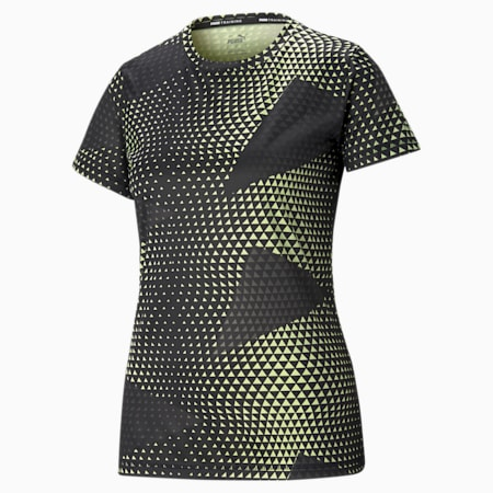 Performance Printed Short Sleeve Women's Training  T-shirt, SOFT FLUO YELLOW-AOP print, small-IND