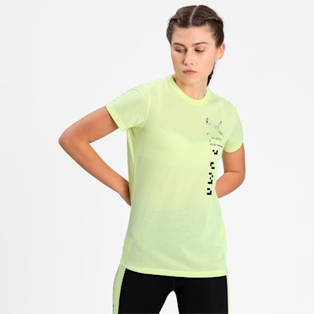 Performance Graphic Short Sleeve Women's Training  T-shirt, SOFT FLUO YELLOW, small-IND