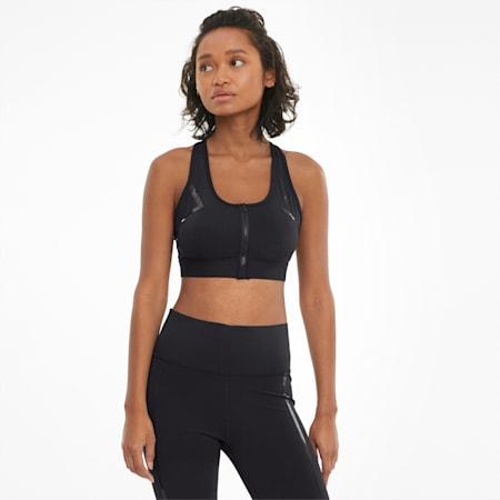 Zapinany na zamek z przodu damski biustonosz treningowy do ćwiczeń o wysokiej intensywności, Puma Black, small