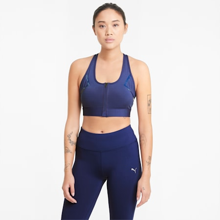 Front Zip Women's High Impact Bra, Elektro Blue, small