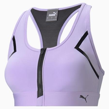 Sujetador deportivo de alto impacto con cierre frontal para mujer, Light Lavender, pequeño