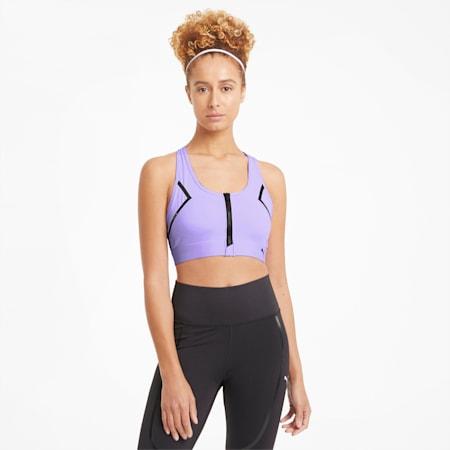 Reggiseno sportivo con zip frontale per allenamenti ad alto impatto donna, Light Lavender, small