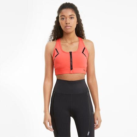 Reggiseno sportivo con zip frontale per allenamenti ad alto impatto donna, Georgia Peach, small