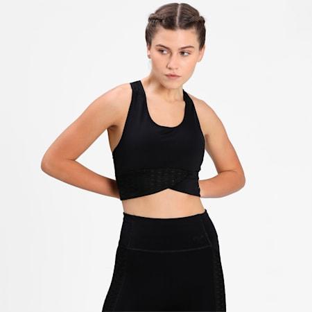 Mid Impact Flawless Women's Training Bra, Puma Black, small-IND