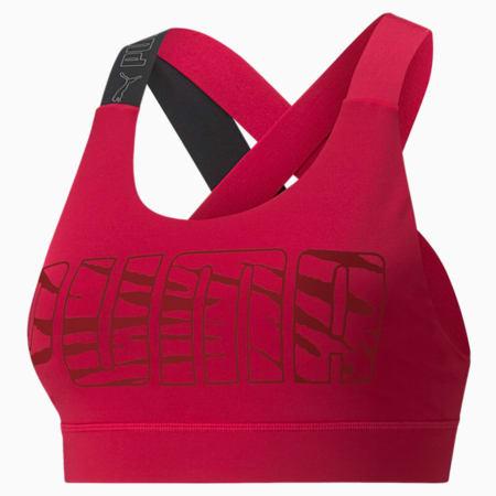 Sujetador deportivo Feel It de mediano impacto para mujer, Persian Red-Print, pequeño