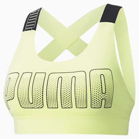Mid Impact Feel It Women's Training Bra, SOFT FLUO YELLOW, small-IND
