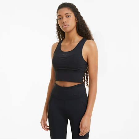 Women's Mid Impact Long Line Bra, Puma Black, small