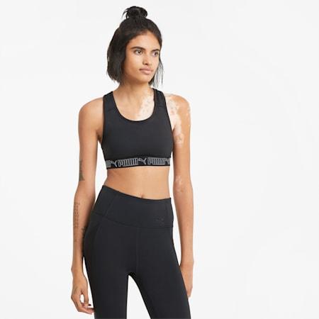 Mid Impact Elastic Women's Training Bra, Puma Black, small