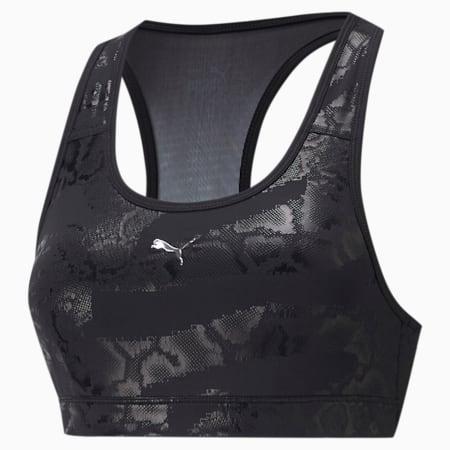 Mid Impact 4Keeps Graphic Women's Training Bra, Puma Black-CASTLEROCK-Snake AOP, small-IND
