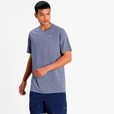 Performance Heather Men's Training  T-shirt, Peacoat Heather, small-IND