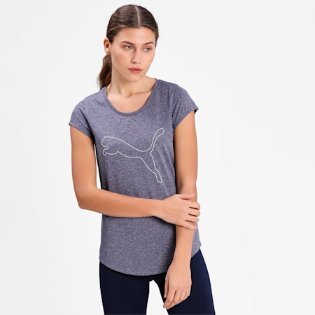 Performance Heather Cat Women's Training  T-shirt, Peacoat Heather, small-IND