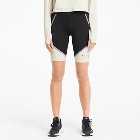 PUMA x FIRST MILE Women's Training Biker Shorts, Puma Black-Eggnog, small
