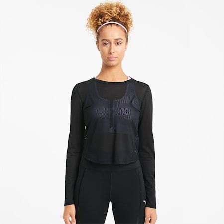 Mesh Long Sleeve Women's Training Top, Puma Black, small-GBR