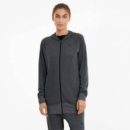 Studio Knitted Women's Training Jacket, Charcoal Gray Heather, small
