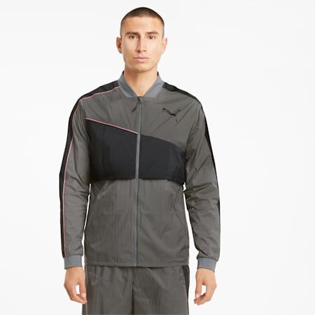 Run Ultra Men's Running Jacket, CASTLEROCK-Grey Dawn, small-GBR