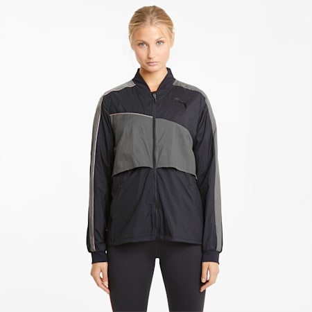 Run Ultra Women's Running Jacket, Puma Black-CASTLEROCK, small