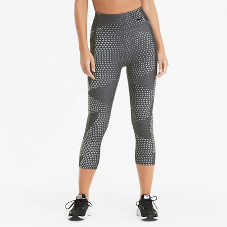 Favourite Printed 3/4 Women's Training Leggings, Puma Black-AOP, small