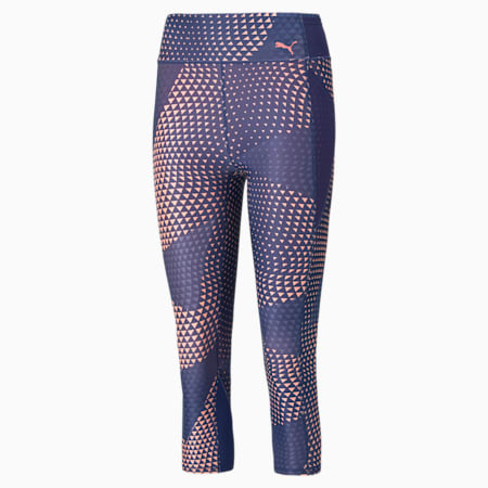 Favourite Printed 3/4 Women's Training Leggings, Elektro Blue-AOP, small