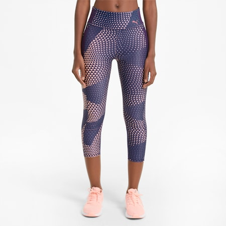 Favourite Printed 3/4 Women's Training Leggings, Elektro Blue-AOP, small