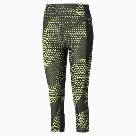 Favourite Printed 3/4 Women's Training Leggings, SOFT FLUO YELLOW-AOP, small