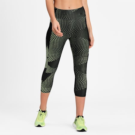Favourite AOP 3/4 Women's Training Slim Tights, SOFT FLUO YELLOW-AOP, small-IND