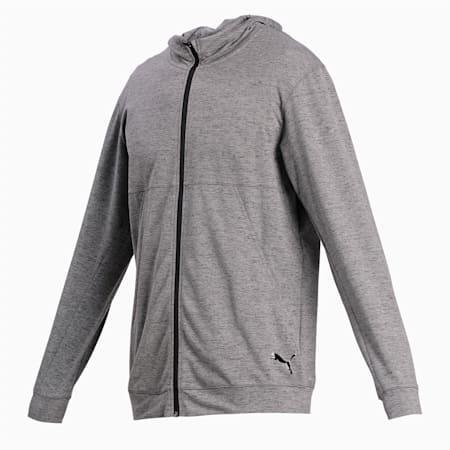 Hooded Men's Training Jacket, Dark Gray Heather, small-IND