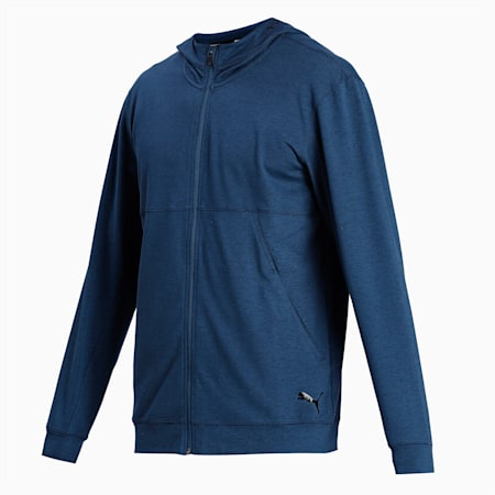 Hooded Men's Training Jacket, Ensign Blue Heather, small-IND