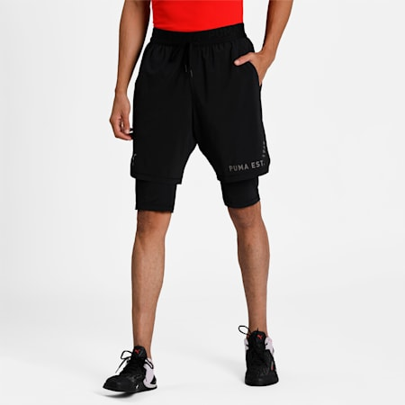 2-in-1 Men's Training Relaxed Shorts, Puma Black, small-IND