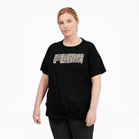 Camiseta de entrenamiento Digital con logo para mujer, Puma Black-Eggnog, pequeño
