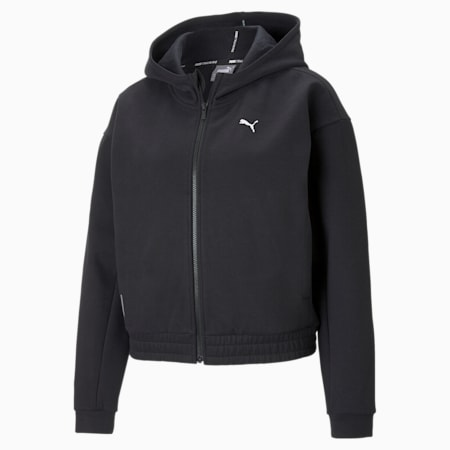 Sudadera de entrenamiento con capucha y cierre de cremallera completo para mujer Favourite, Puma Black, small