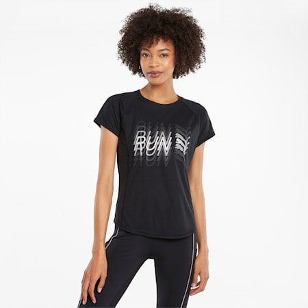 Logo Short Sleeve Women's Running Tee, Puma Black, small-SEA