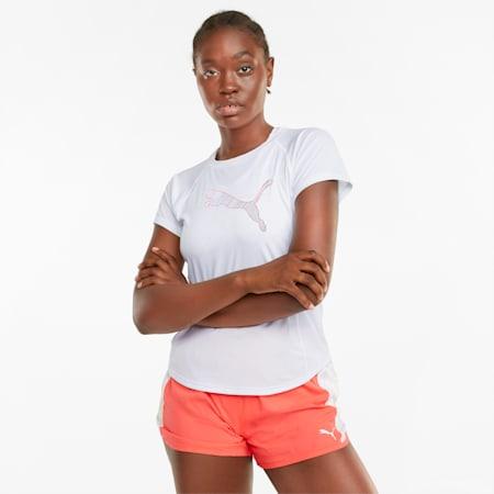 T-shirt de course à manches courtes avec logo, femme, Blanc Puma, petit