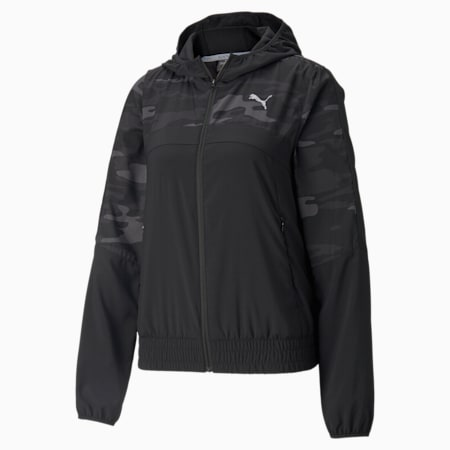 Graphic Hooded Women's Running Jacket, Puma Black, small-SEA