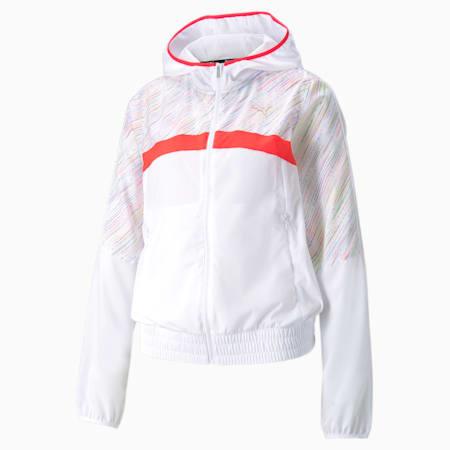 Chaqueta para correr con capucha estampada para mujer, Puma White, pequeño