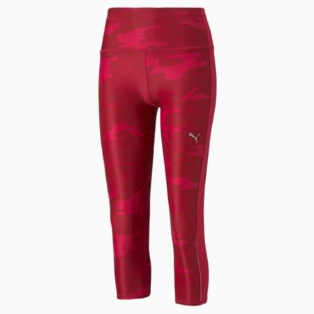 Leggings para correr estampada 3/4 para mujer, Persian Red, pequeño